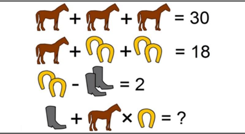 Коварная головоломка. Найдите верное решение посчитав лошади, сапоги и подковы