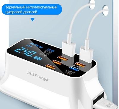 Зарядное устройство, 8 портов, 3-дюймовый диодный дисплей, быстрая зарядка, USB, для Android, iPhone, Xiaomi, Huawei, Samsung