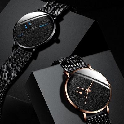 Ультра тонкие мужские деловые черные часы из нержавеющей стали с сетчатым ремешком